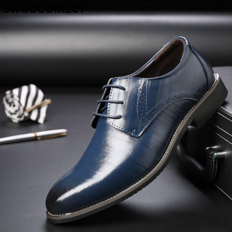 Zapatos formales para hombre, zapatos de vestir de boda de cuero genuino, zapatos corporativos para hombre, zapatos elegantes de vestir marrón para hombre de talla grande 48