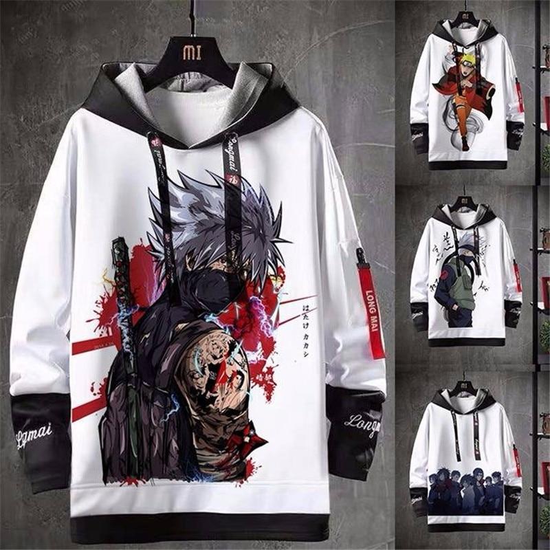 Naruto Print Hoodie Men Women Autumn Winter Sasuke Sweatshirt Harajuku Japan Hoodie Coats Streetwear Hip Hop Cartoon Hoodie Boys