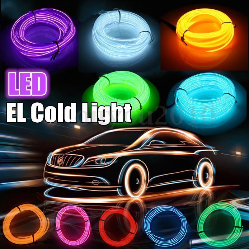 1~5M Neon LED Light Glow EL Wire String Strip Rope Tube Light Car Interior Atmosphere Decor Lamp Lin