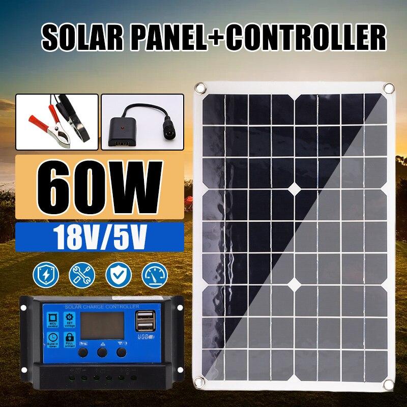 Panel Solar de 60 W, 18 V, doble USB, celdas de Panel Solar con regulador 10/20/30/40/50A, Ect para cargador de luces RV de yate de coche
