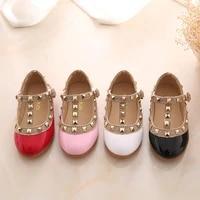 2021 new girls sandals rivets single shoes kids leather shoes children nude sandal toddler girls princ flat dance shoes