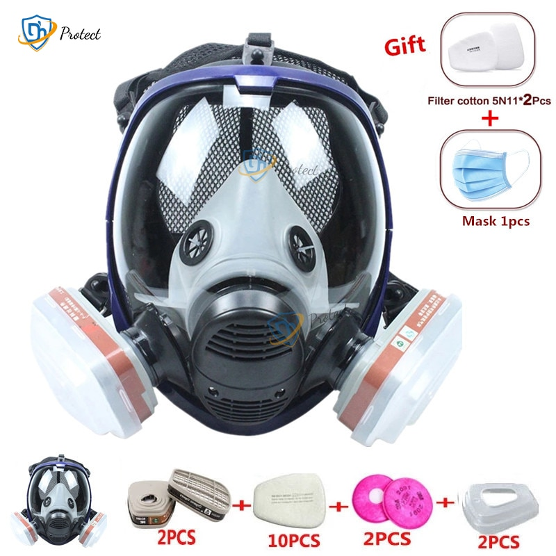 Chemical mask 6800 7 in 1 6001 Gas Mask acid dust Respirator Paint Pesticide Spray Silicone filter L