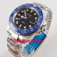 Bliger 40mm GMT 3804 אוטומטי גברים של שעון שחור חיוג זוהר ספיר זכוכית כחול קרמיקה bezel תאריך זכוכית מגדלת עמיד למים 175