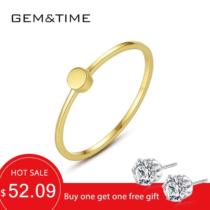 Gem & Time anillos De oro puro De 14 quilates para mujeres, compromiso De boda, oro amarillo 585, joyería fina, Bague De Ouro Pur Au585 regalos R14142