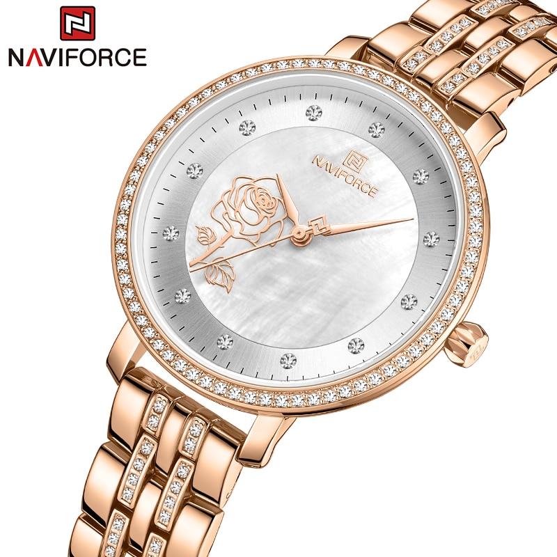 NAVIFORCE-ساعة نسائية من الذهب الوردي ، سوار فولاذي مبتكر ، مقاومة للماء