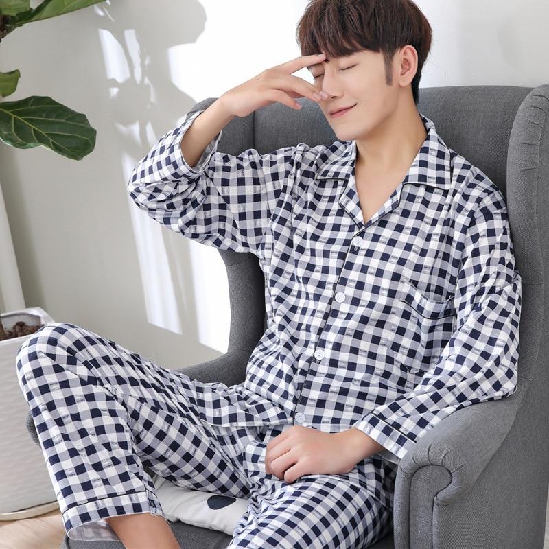 Pijamas homens pijamas listrado conjunto de pijama algodão casual sleep & lounge pijamas outono inverno impresso pijamas homme conjuntos