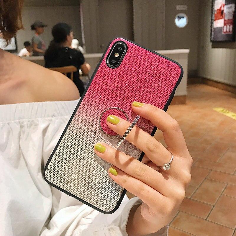 Glitter Caso de Rotação Titular Para Huawei P30 P20 Pro Companheiro 20 10 lite Para Honra 10 9 8X 8C Nova3i 4 Y9 Y7 Y6 2019 P smart Plus