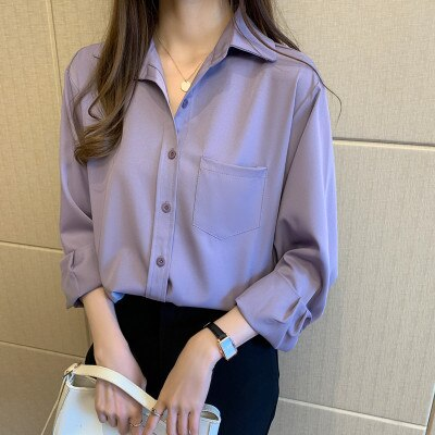 H939538ba75b5427b93680bc67c59f6c6J - Spring / Autumn Turn-Down Collar Long Sleeves Solid Pocket Blouse
