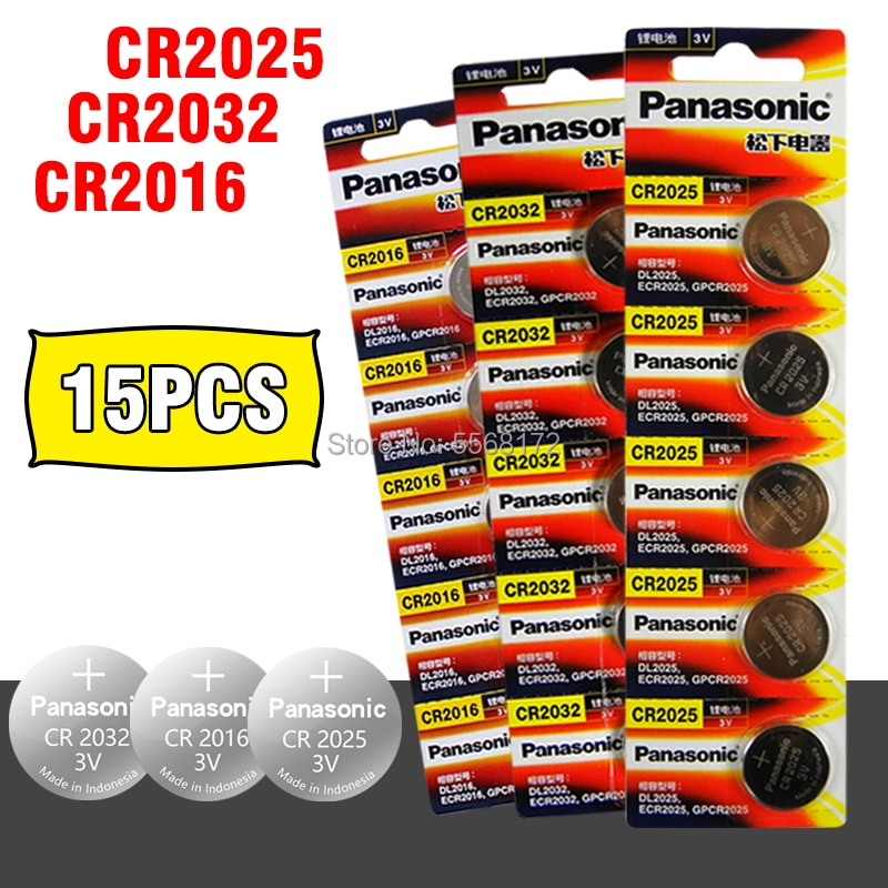 PANASONIC 15Pcs original brand new battery for cr2032 cr 2025 cr2016 3v button cell coin batteries for watch computer