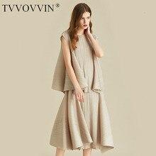 TVVOVVIN beżowy bez rękawów, okrągły dekolt plisowana koszulka wysokiej talii nieregularna spódnica damski komplet Casual Fashion 2020 jesień nowy X097