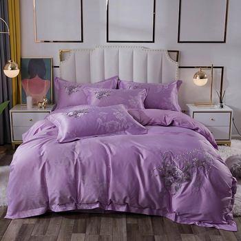 Svetanya набор постельных принадлежностей с вышивкой, жаккардовое шелковое хлопковое постельное белье королевского размера, набор пододеяльн...