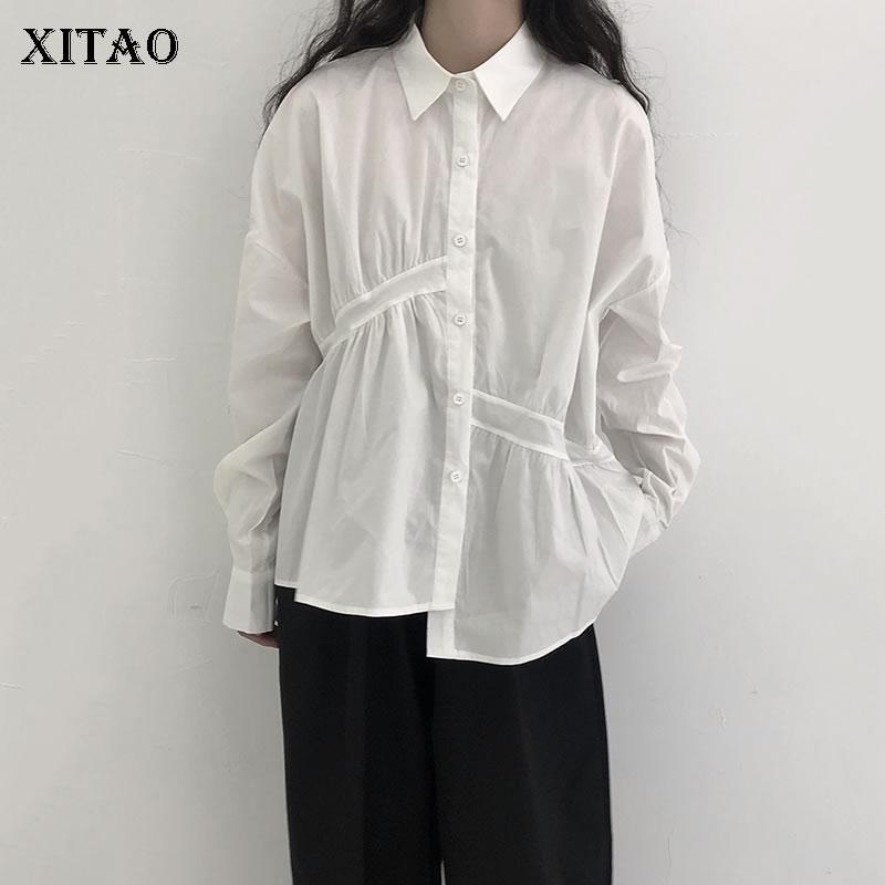 XITAO بلون خمر المرأة قميص الموضة عادية أوائل الخريف مطوي المرقعة كم طويل واحدة الصدر WMD3395