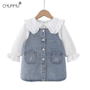 Baby Girls Princess Dress For Baby Girls Lace Flower Shirt Denim Strap Dress Infant Baby Party Dress Autumn Kids Newborn Clothes