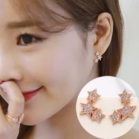 exquisite silver color bohemia star stud earring simple aaa zircon women france fashion earring for women cocktail party jewelry
