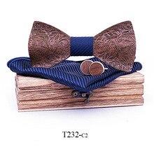 Linbaiway Luxus Männer Holz Bowtie Mode Holz Bogen Krawatten + Taschentuch + Manschettenknöpfe + Holz Box Set Hochzeit Krawatte Mann hemd Geschenke