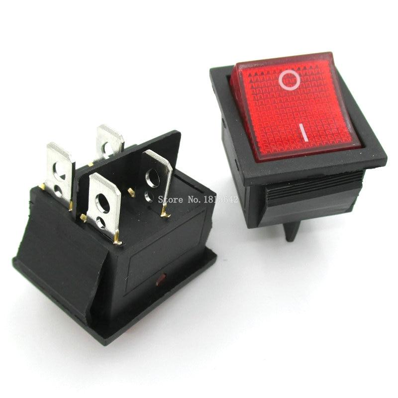 2 unids/lote luz roja 4 Pin/barco interruptor de botón 250V 15A AC AMP 125 V/ 20A P0.5 25*31mm interruptores KCD4-202