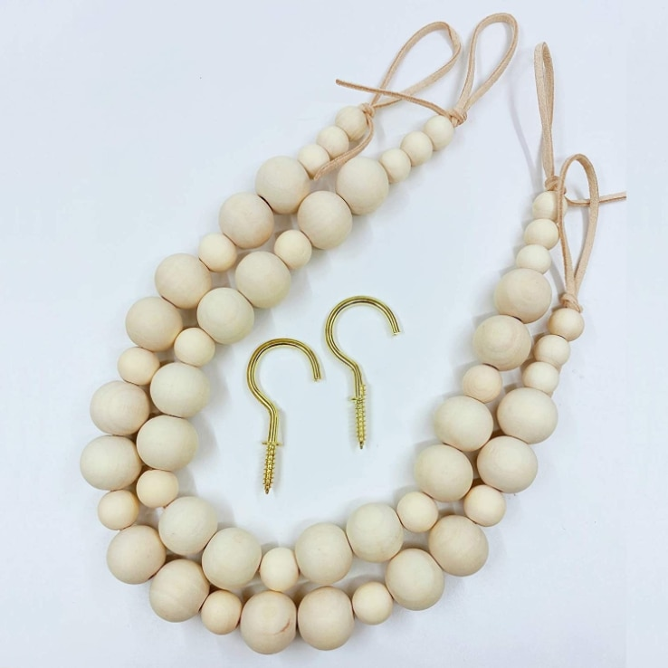 2Pcs 55cm Natural Wood Beads Creative Beaded Curtain StrapsAnd Two Hooks Home Decoration Garland Handmade Custom Home Decoration