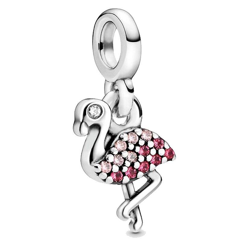 Neue 925 Sterling Silber Perle Charme Mein Rosa Flamingo Baumeln Mit Kristalle Mich Anhänger Perlen Fit Armband DIY Schmuck