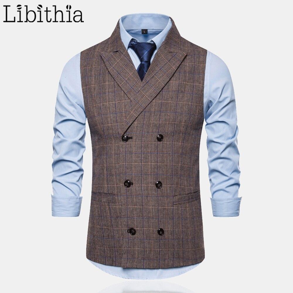 Libithia الخريف 2019 جديد وصول الرجال الاجتماعية اللباس منقوشة دعوى سترات صدرية للرجال M-3XL الملابس الذكور رمادي القهوة A95