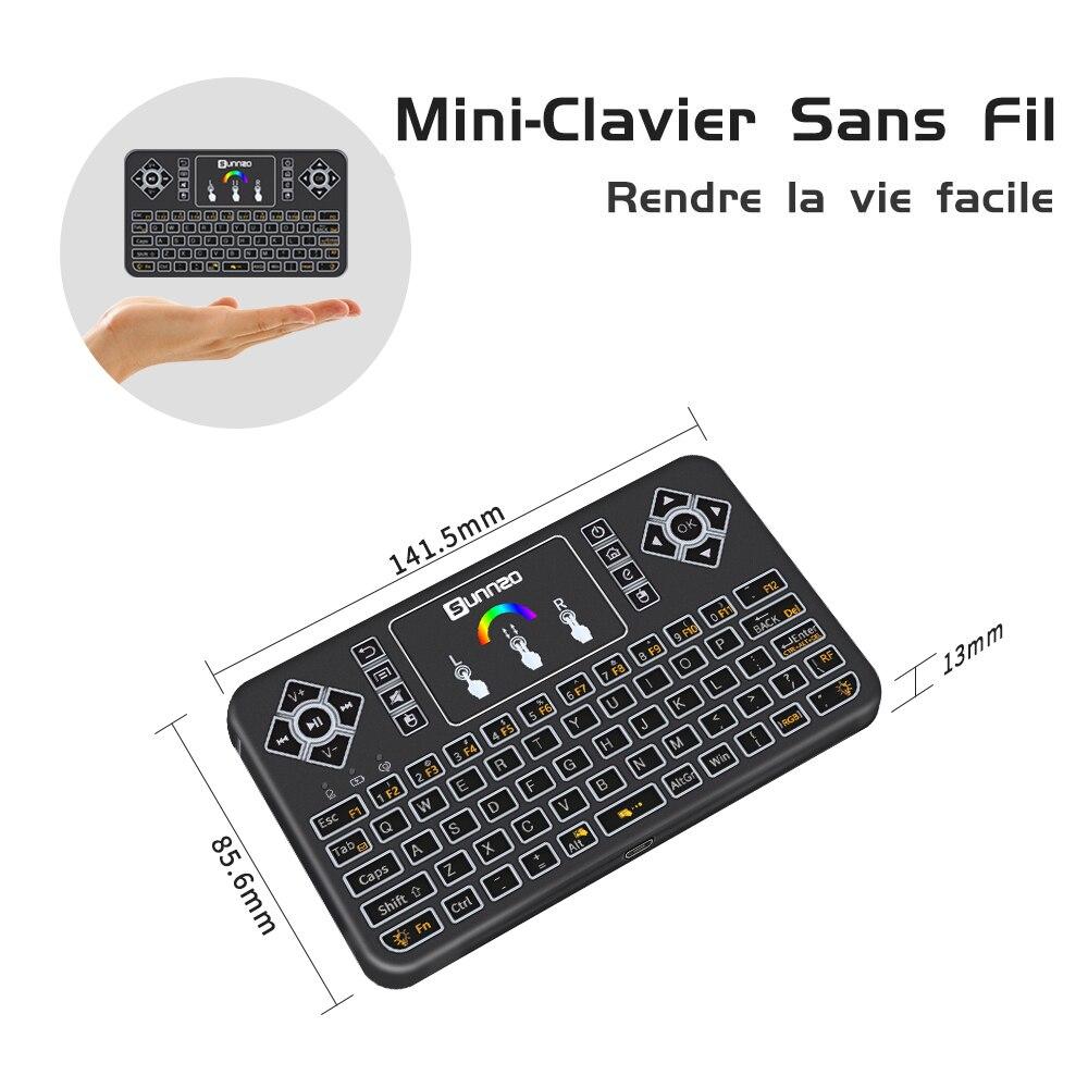 Q9 Mini 2,4 GHz Wireless Tastatur Bunte Backlit Touchpad Fly Air Maus Fernbedienung für Android/Windows/Google smart Tv Box