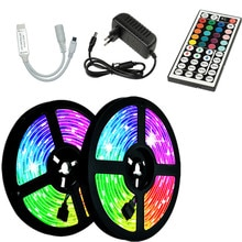 LED Strips Lights IR 2835 RGB No waterproof Lamp Tape Ribbon With Diode DC EU power supply 12V 20M 3