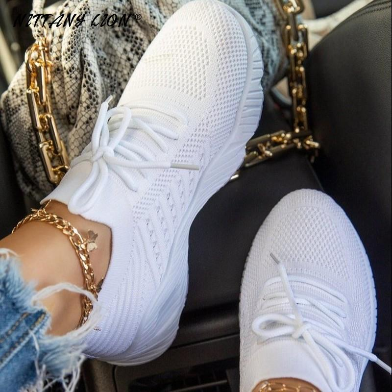 Casual Shoes Comfortable Mesh Lace-Up Ladies Women Sneakers Sports Wedges Chunky Vulcanized Females