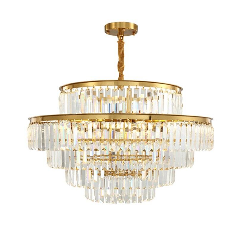 Led E14 الحديثة متعدد الطبقات كريستال صلب الثريا الدوار معلقة ضوء Lampen بريق تعليق الإنارة لغرفة المعيشة