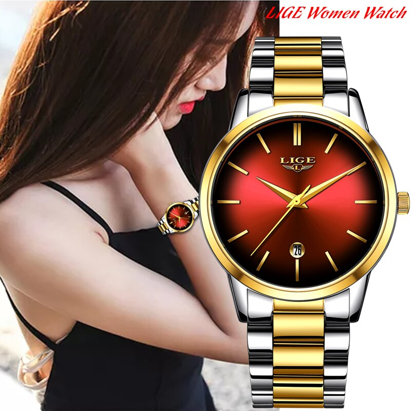 2020 LIGE Gold Rose Female Watch Business Quartz Watch Ladies Top Brand Luxury Waterproof Automatic Date Clock Relogio Masculino enlarge