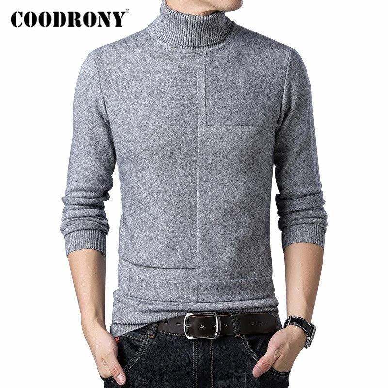 Suéter de cuello alto marca COODRONY para hombre, jersey de moda Casual Pull Homme 2019 invierno, cálidos suéteres gruesos de lana, jersey de ajuste delgado para hombres C1015