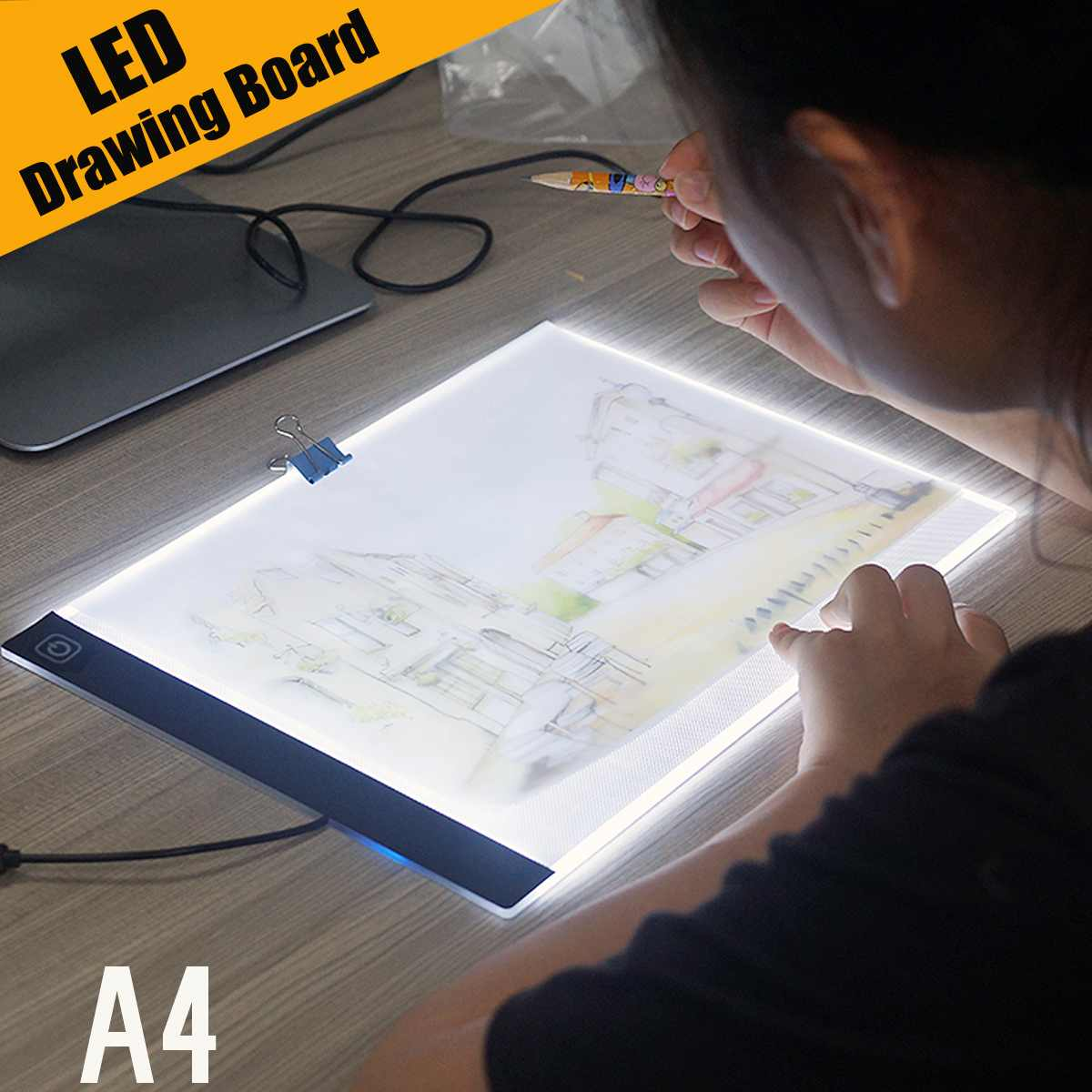 Ultra Thin A4 LED Light Pad Artist Tattoo Stencil Board Light Box Table Tracing Drawing Board Pad Copy Painting Drawing Board
