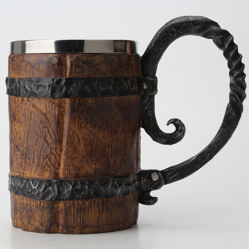 550 مللي نمط الخشب كوب للبيرة محاكاة برميل خشبي كوب البيرة جدار مزدوج كوب شرب معزول المعادن 1 قطعة شرب بار