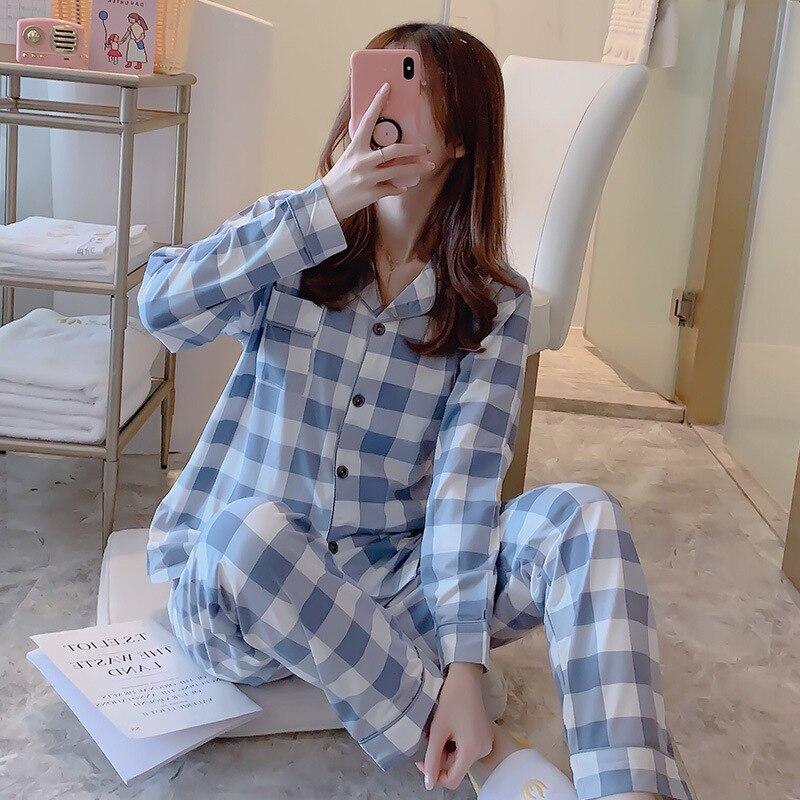 2019 conjuntos de pijamas para mujer con pantalones de manga larga cuello vuelto con bolsillo Pijama con botón de dibujos animados bonito Top + Pantalones Pijama