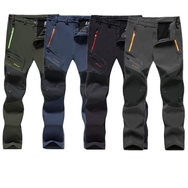 Мужские Зимние флисовые брюки-карго, тактические уличные водонепроницаемые брюки, мужские теплые дышащие походные брюки большого размера d