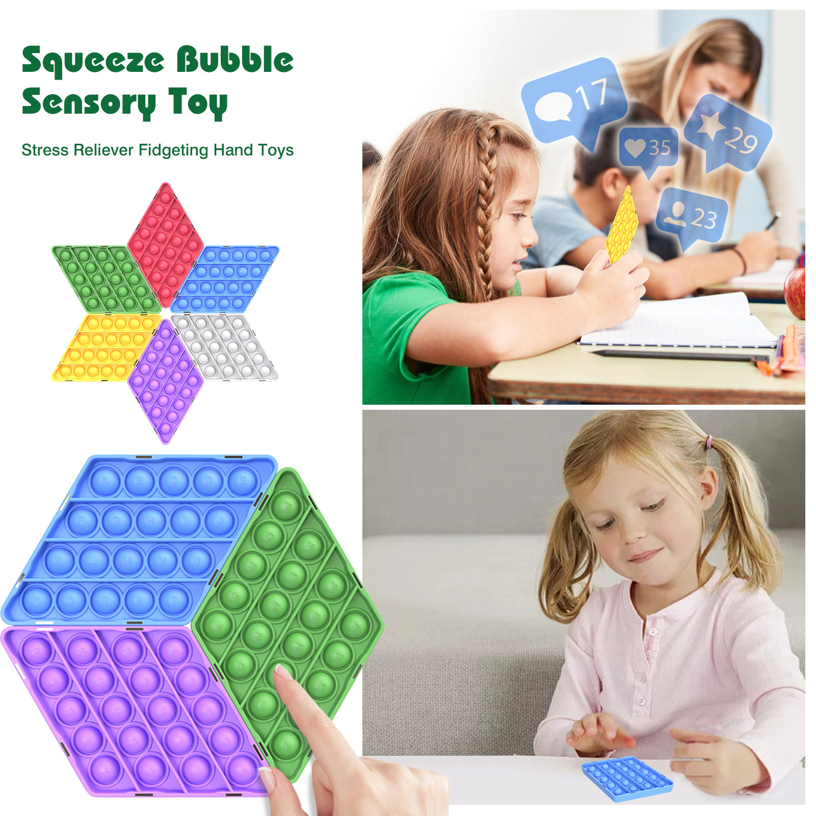 Push Pop Bubble Fidget Toy Autism Needs Squishy Stress Reliever Toys Adult Child Funny Anti stress Reliver Stress Sensory enlarge