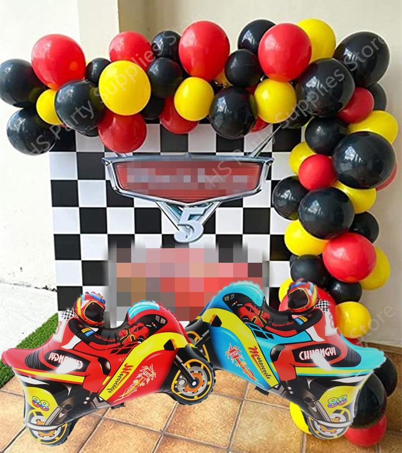 Красные, черные, желтые латексные воздушные шары, мотоциклетные воздушные шары из алюминиевой фольги, арка, «сделай сам», гирлянда, гоночные...