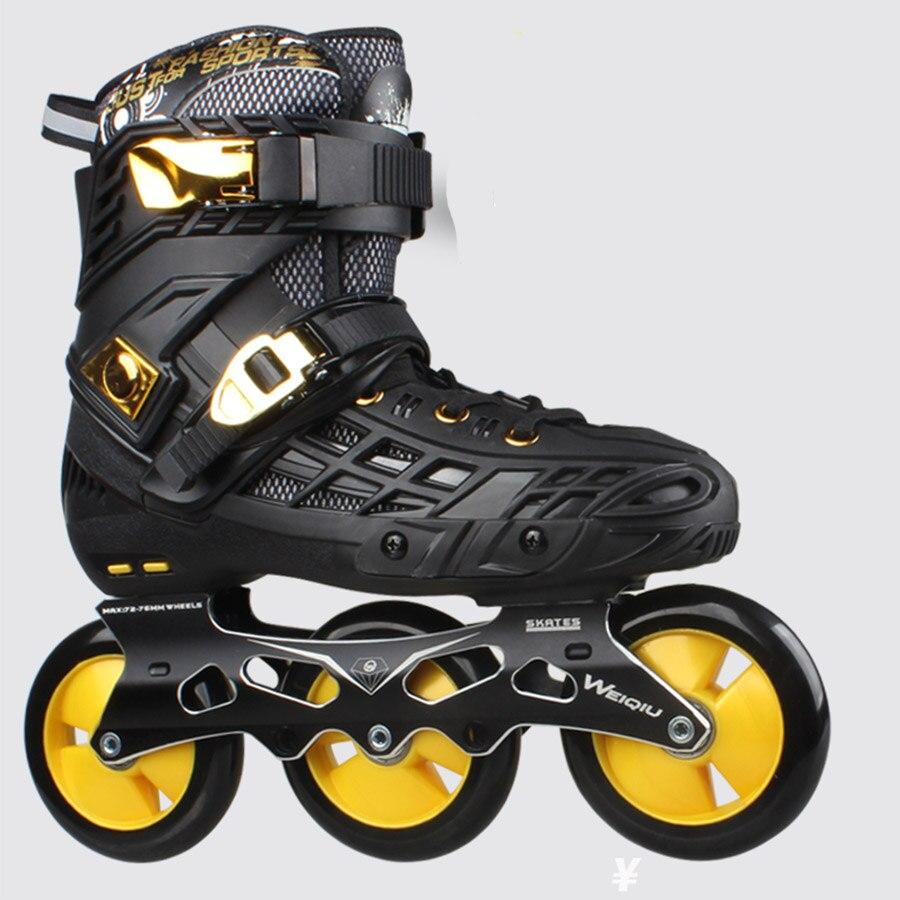 Japy WeiQiu Inline Skates 72-76-80mm or 3*100mm Slalom Speed Inline Skates Roller Free Skating Shoes Sliding Patines