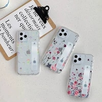 colorful real dry flower phone case wrist strap for iphone 7 8 11 12 x xs xr mini pro max plus hand band transparent clear