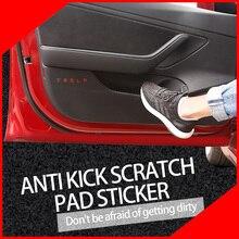 A Little Change 4PCS/set car door kick sticker anti-Dirty protector antiKick mat Pad Cushion Cover Styling Logo for tesla model3