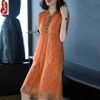 100 real silk midi dress women vestido print floral v neck dress summer dresses loose party beach dresses 2021 lpl1497