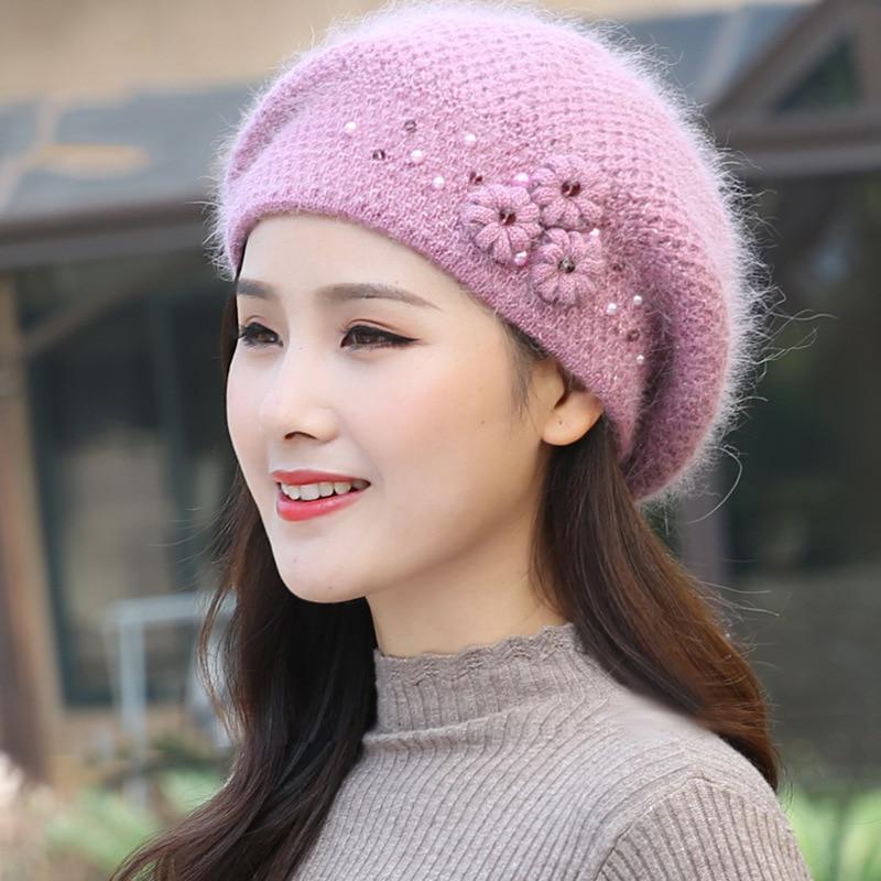 قبعة نسائية قبعة الأنجورا شتاء دافئ زهرة لينة طبقات مزدوجة الحرارية الثلوج في الهواء الطلق ملحق الإناث