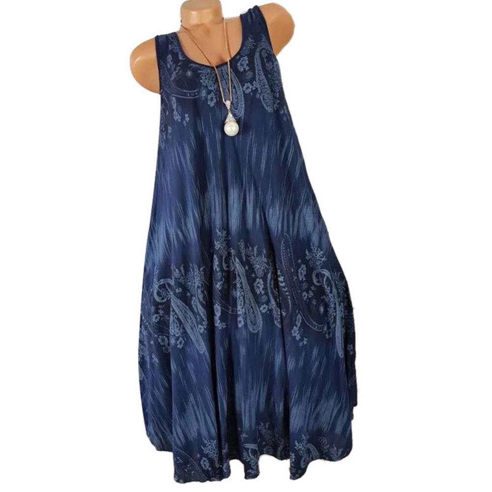 Hot Sales!!! Women Summer Floral Print Round Neck Sleeveless Loose Pleated Plus Tank Dress