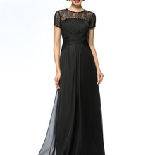 A-Line Beaded Lace Floor-Length Jewel Neckline Mother of the Bride Dress with 30D Chiffon Short Slee