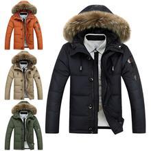 Winter Men Down Jacket Collar Hooded Thick Parka Down Coat Men Winter Jacket Plus Size Snow Parka Coat