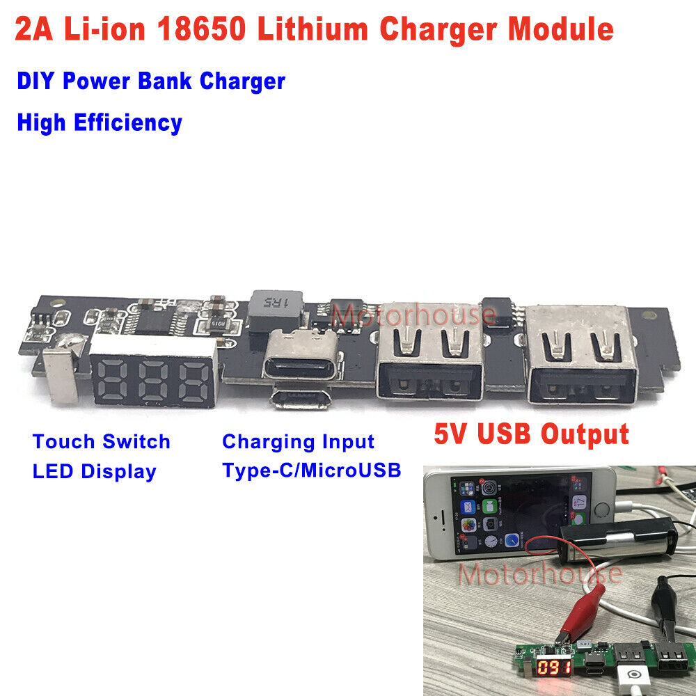 AliExpress - Dual USB LED Display 5V 2A Type-c Lithium Li-ion 18650 Battery Charging Charger Module DIY power bank