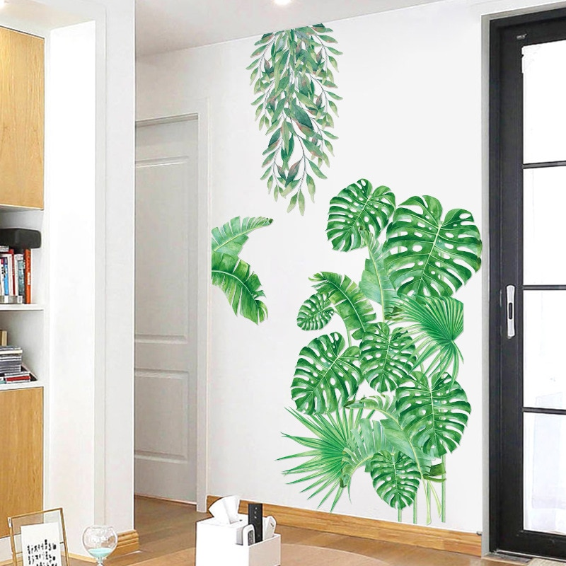 Купить с кэшбэком Large tropical plant Wall Sticker bedroom living room decoration PVC adhesive Mural Home Decor art Decals green leaf Stickers