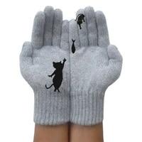 1 pair cartoon cat knitted gloves women winter warm thicken faux cashmere mittens print cute soft female gloves
