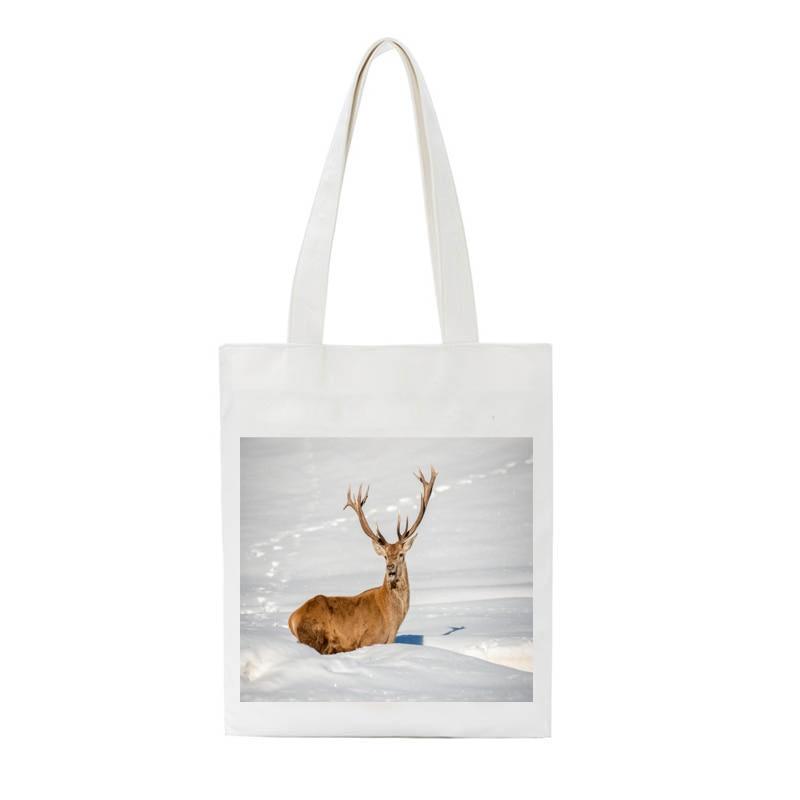 SCCFMM Canvas Women Shoulder Tote Bag Korea Ulzzang Harajuku Japanese-style Animal Horse Panada Print Cotton Canvas Shopper Bag