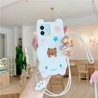 cartoon white phone case for iphone 12 pro max mini xs max x xr se20 7 8 plus for 11 pro max soft silicone cute cover with strap