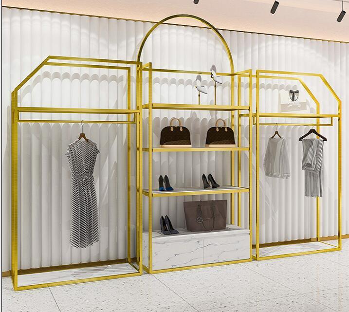 رف شاشة من الفولاذ المقاوم للصدأ متجر لبيع الملابس الطابق نوع طبقة مزدوجة الذهب عرض رف تعليق الملابس الأحذية ومتجر الملابس