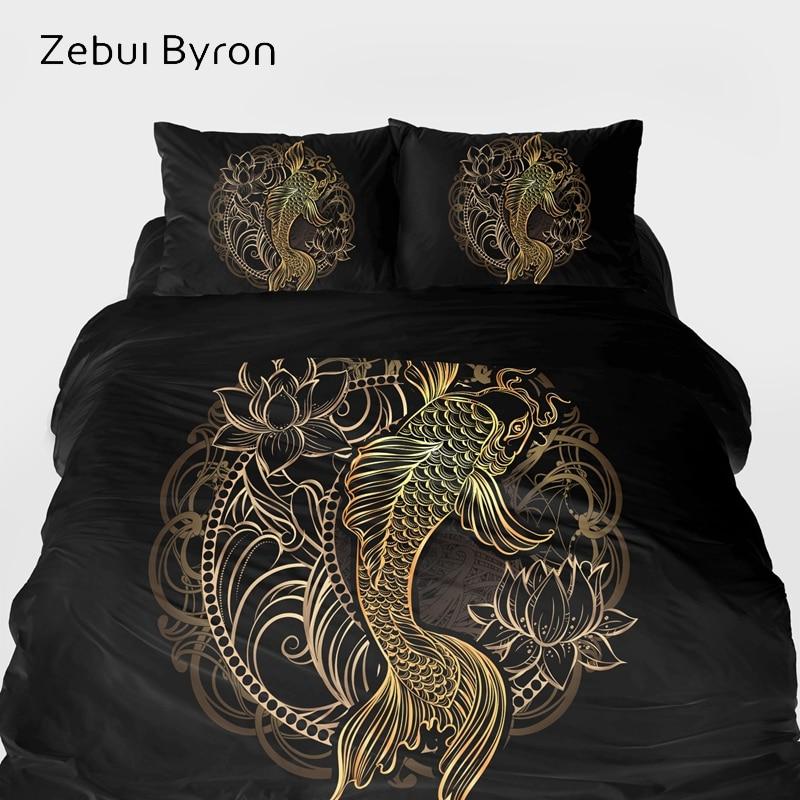 Juegos de cama 3D de lujo, juego de cama King/Queen/tamaño personalizado, juego de funda de edredón negro oro carpa, conjunto de funda de Manta/edredón, envío directo